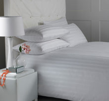 "Load image into Gallery viewer, Murano White Cotton Rich Satin Stripe Duvet Cover- 1"" Satin Stripe"