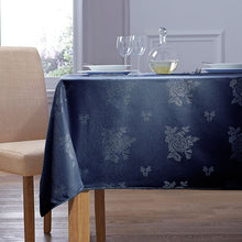 Load image into Gallery viewer, Cezanne Navy Damask Rose Table Cloth