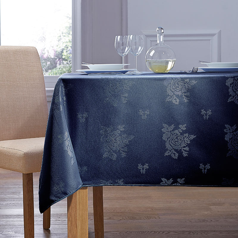 Cezanne Navy Damask Rose Table Cloth