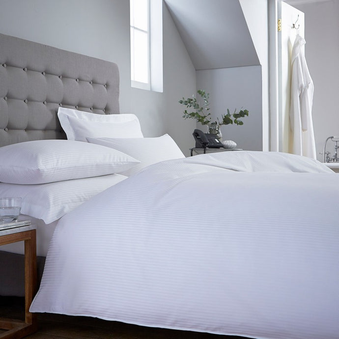 Novara White Cotton Rich Satin Stripe Duvet Cover