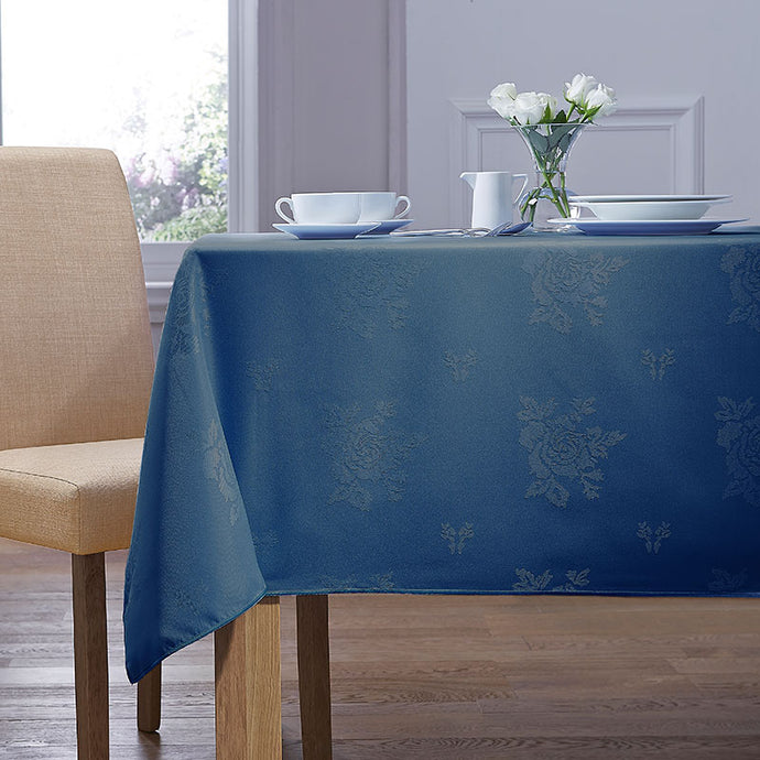 Cezanne Royal Blue Damask Rose Table Cloth