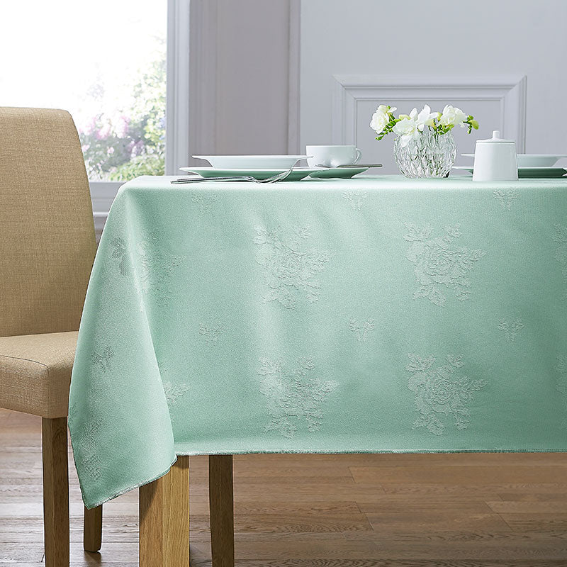 Cezanne Seafoam Green Damask Rose Table Cloth