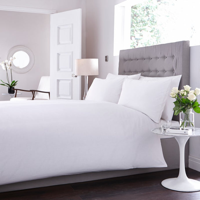 Triora White Cotton Rich Percale Flat Sheet