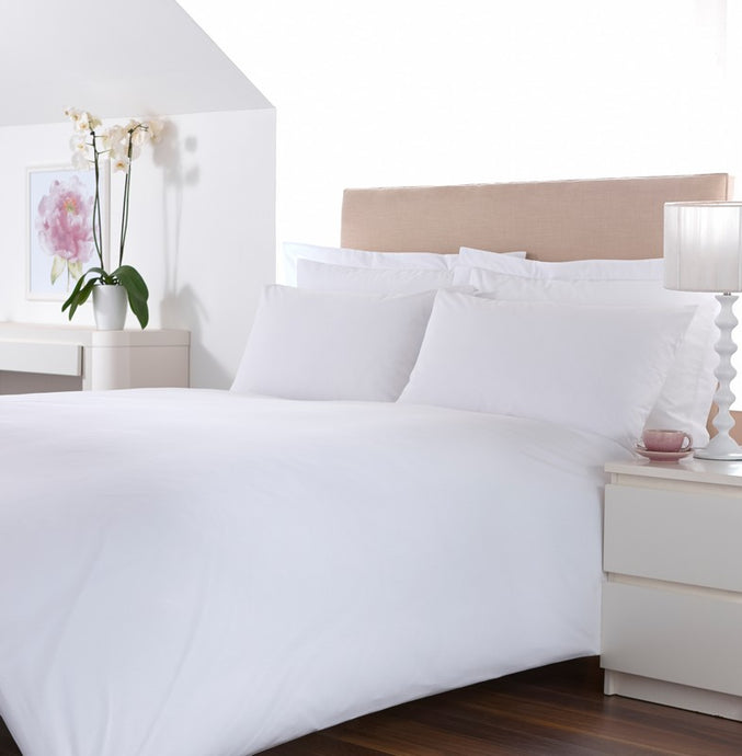 Venezia Plain White 100% Cotton Percale Duvet Cover