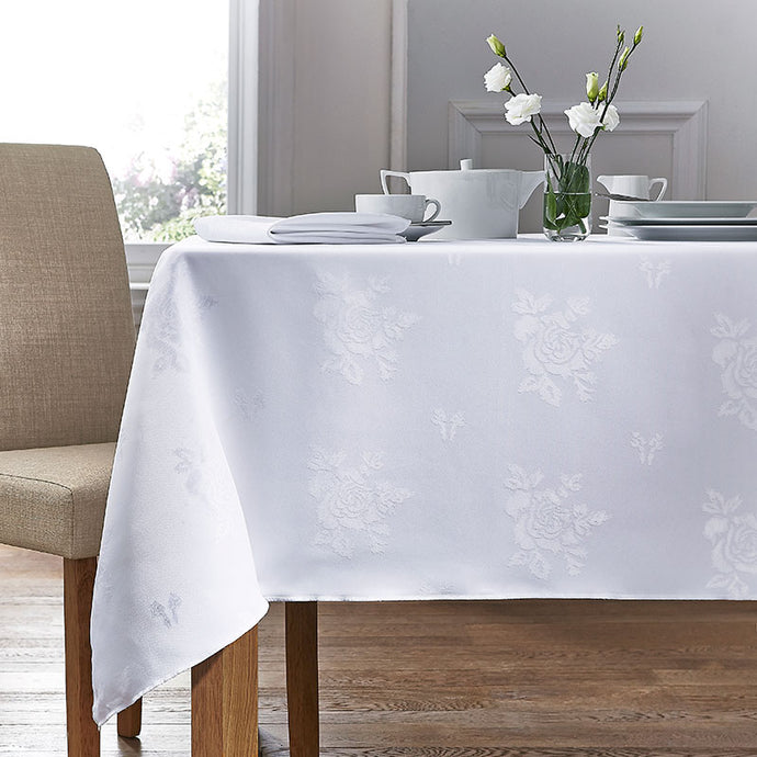 Cezanne White Damask Rose Table Cloth