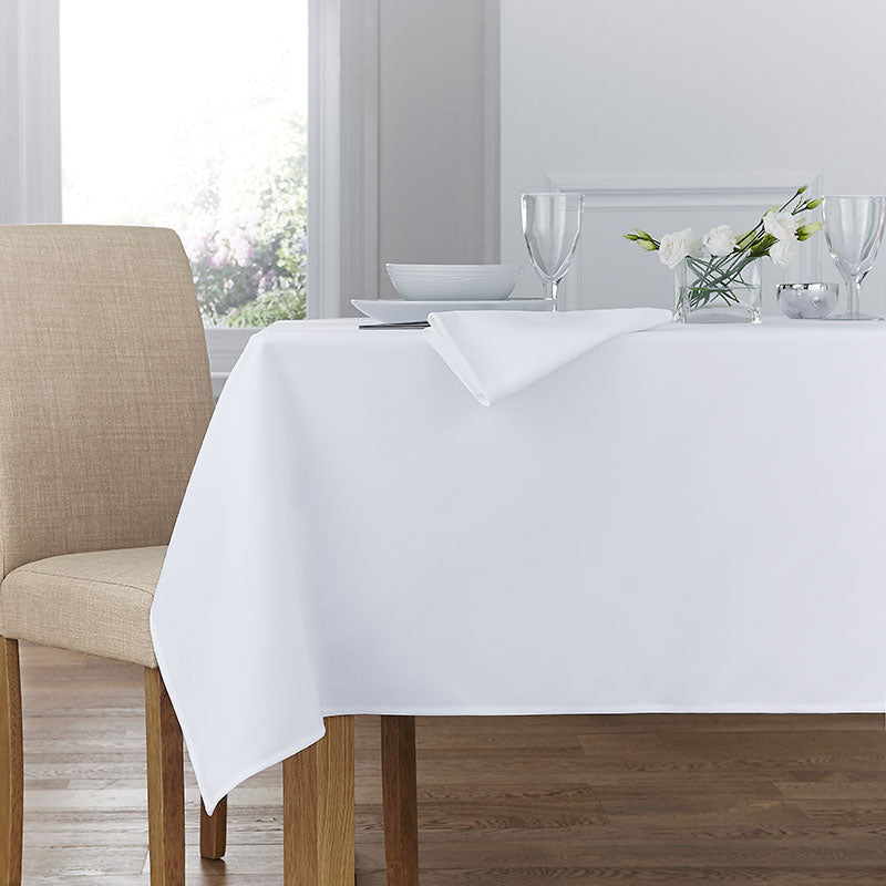 Forta 100% Polyester Plain Table Cloth - White
