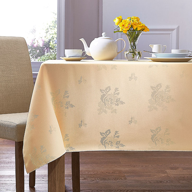 Cezanne Lemon Damask Rose Table Cloth