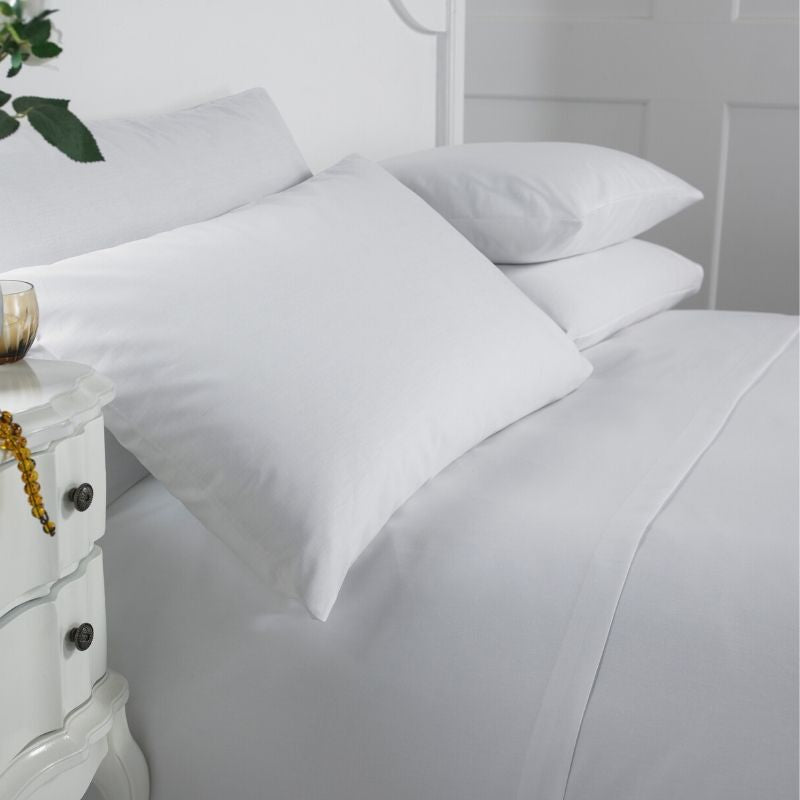 Siena White Cotton Rich Standard Hemless Bag Pillowcase - Pack of 10