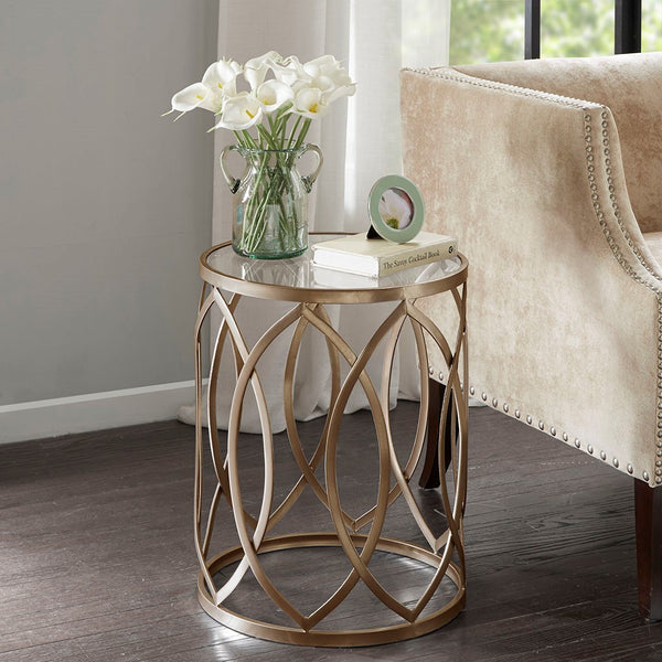 Madison Park Arlo Metal Eyelet Accent Table - Noizylady