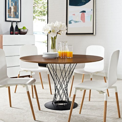 Cyclone Walnut Round Wood Top Dining Table EEI-WAL1713-