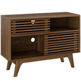 Modway Render Mid-Century Modern Two-Tier Display Stand in Walnut