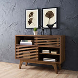 Modway Render Mid-Century Modern Two-Tier Display Stand in Walnut - Noizylady