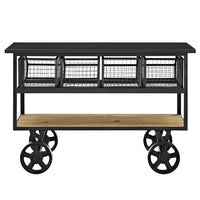 Modway Fairground Rustic Farmhouse and Steel Rolling Cart Kitchen Serving Stand in Brown - Noizylady