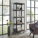 Modway Vivify Industrial Modern Bookcase With Locking Casters - Noizylady