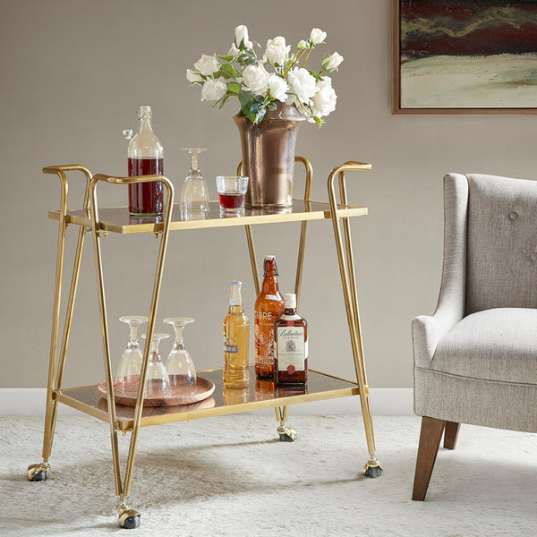 Madison Park Elon Bar Cart - Metal Base, Antiqued Mirror Serving Shelf on Wheels Modern Classic Wine Stand with Casters, Gold - Noizylady