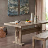 Oaktown Dining Table Solid Oak Wood, Rustic Grey Traditional INK+IVY II121-0185