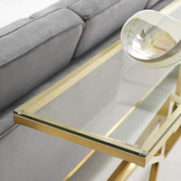 "Point 59"" Brushed Gold Metal Stainless Steel Console Table in Gold - Noizylady"