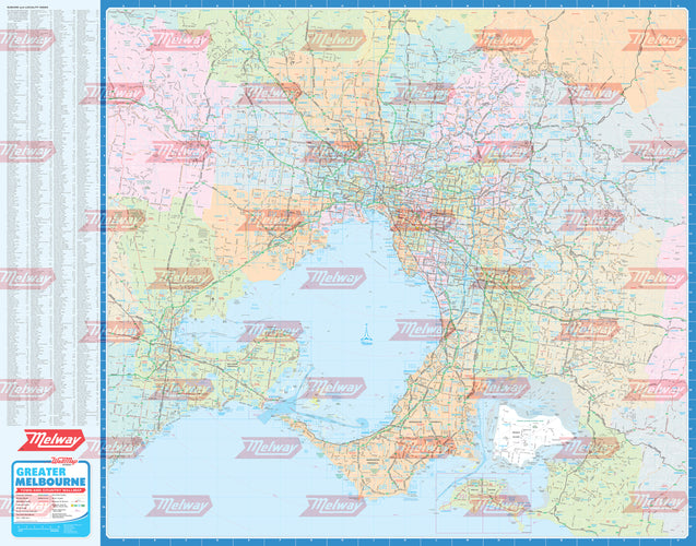 Melway Town & Country WallMap including Council and Suburb Boundaries- Rolled & Laminated