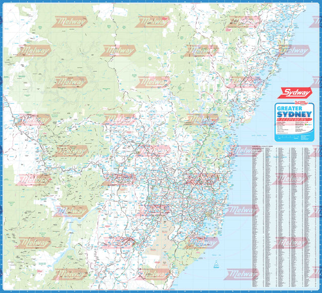 Sydway WallMap - Rolled & Laminated