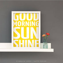 Load image into Gallery viewer, good morning sunshine yellow print by Latte Design