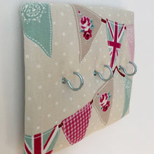 Load image into Gallery viewer, 3-hook key hanger in Fryetts pink bunting fabric