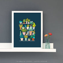 Load image into Gallery viewer, Pots and plants on blue. Botanical illustration plants illustration by Amalia Lopez