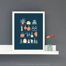 Load image into Gallery viewer, kitchen shelves print. Blue kitchen print by Latte Design