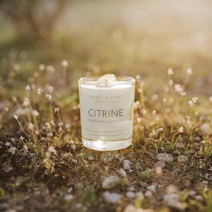 Citrine, Energising & Uplifting Travel Crystal Candle