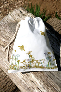 Wildflower Organic Cotton Drawstring Bag