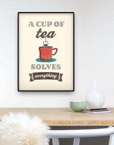 A cup of tea solves everything. Cream kitchen print