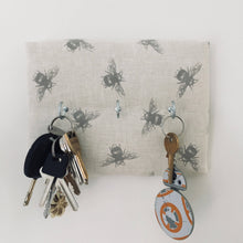 Load image into Gallery viewer, 3-hook key hanger in Fryetts honeybee fabric