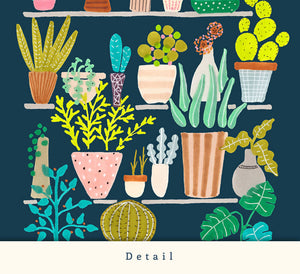 Pots and plants. Blue print