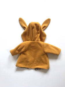 Childs Rabbit Ear Coat - Mustard Yellow & Cream Floral