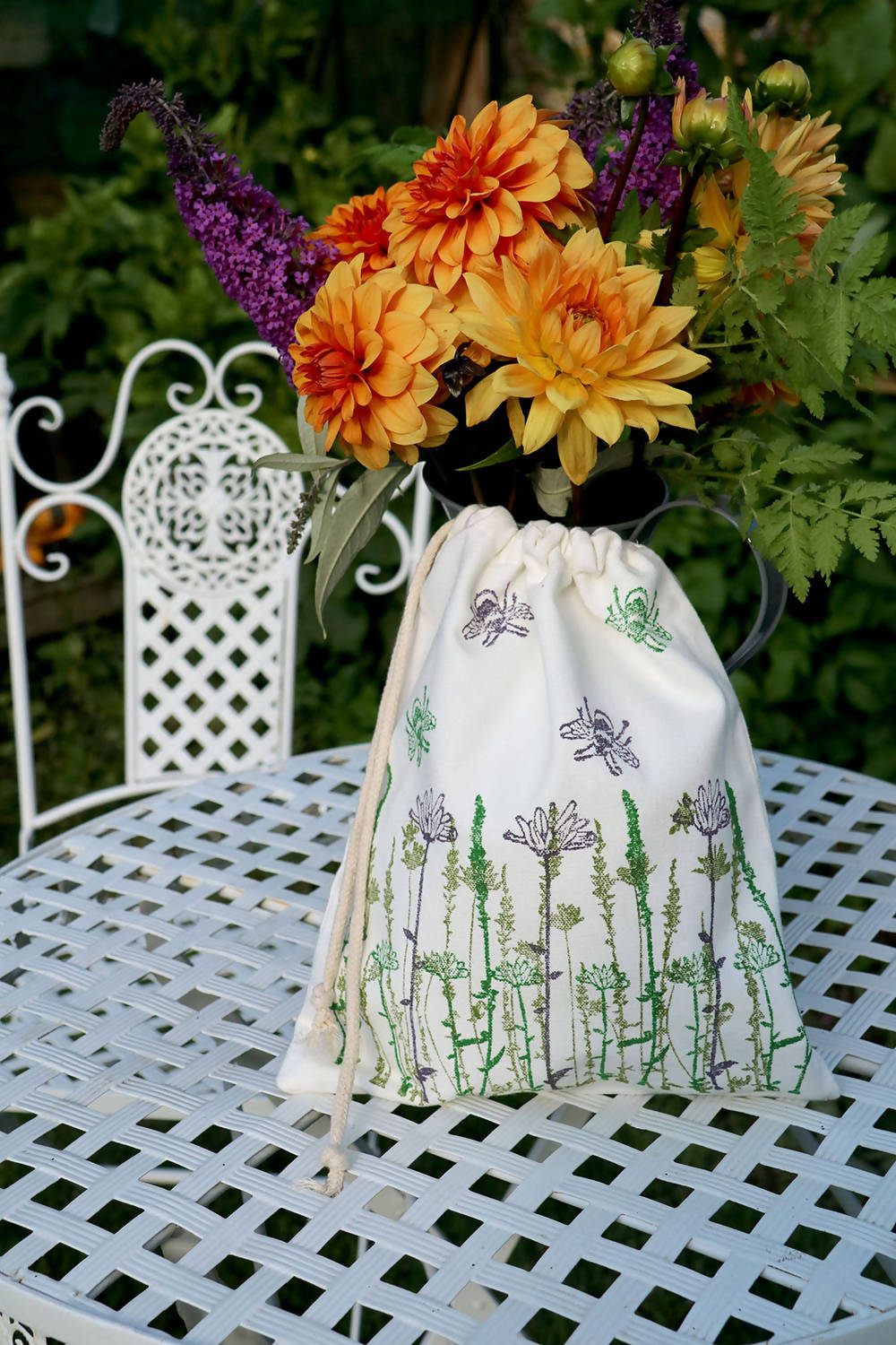 Wildflower & Bee Organic Cotton Drawstring Bag