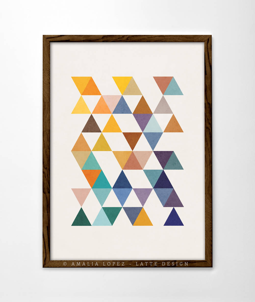 Triangles 2. Geometric wall art by Latte Design