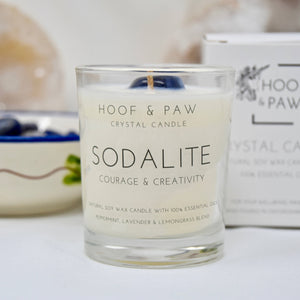 Sodalite, Courage & Creativity Travel Crystal Candle