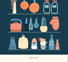 Load image into Gallery viewer, Kitchen shelves. Blue kitchen print
