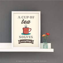 Load image into Gallery viewer, A cup of tea solves everything. Cream kitchen print
