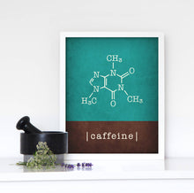 Load image into Gallery viewer, Caffeine molecule print. Teal and brown Coffee print