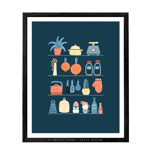 kitchen shelves print. Blue kitchen print by Latte Design