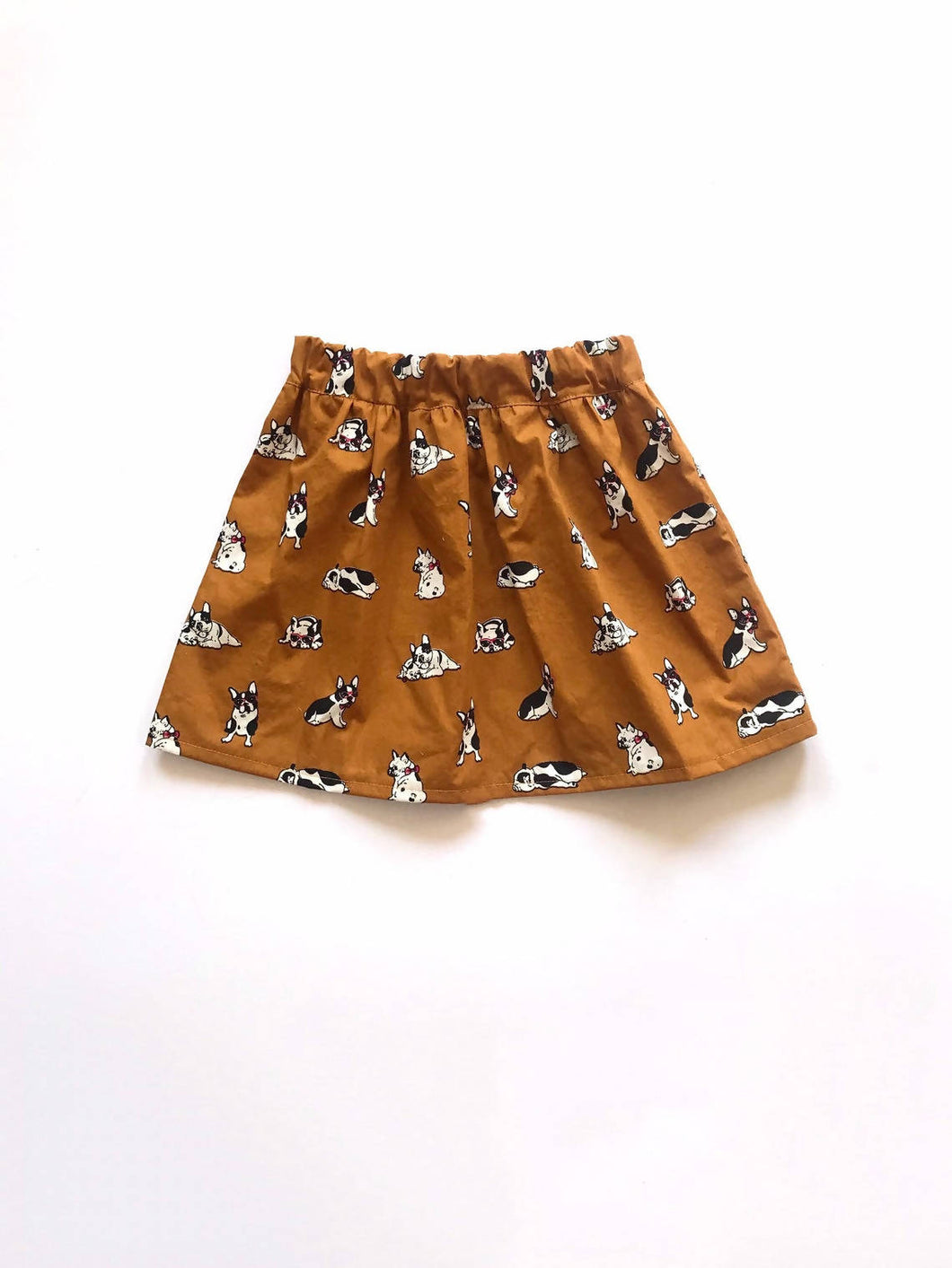 Childrens Skirt in Mustard Dog Print