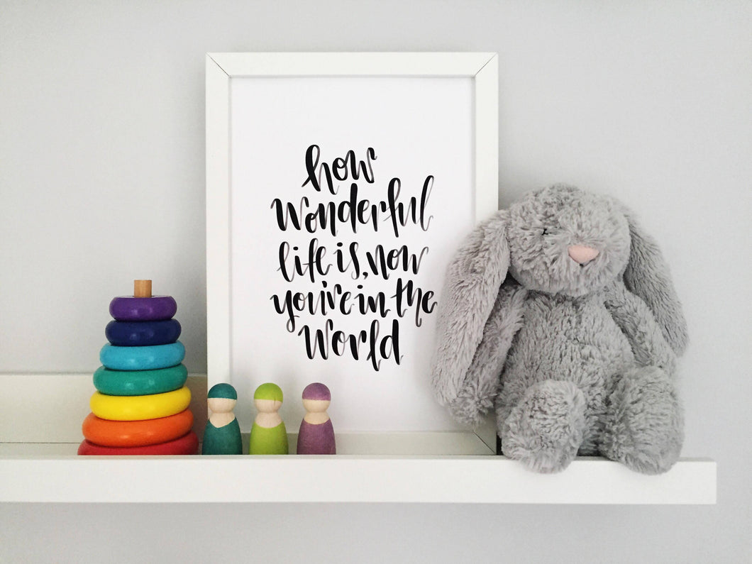 'How Wonderful Life is' New Baby Print