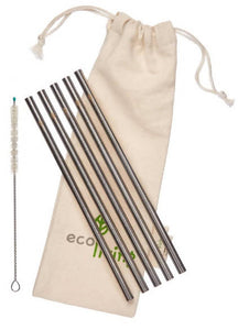 5 Stainless Steel Straws with Plastic-Free Cleaning Brush & Organic Carry Pouch
