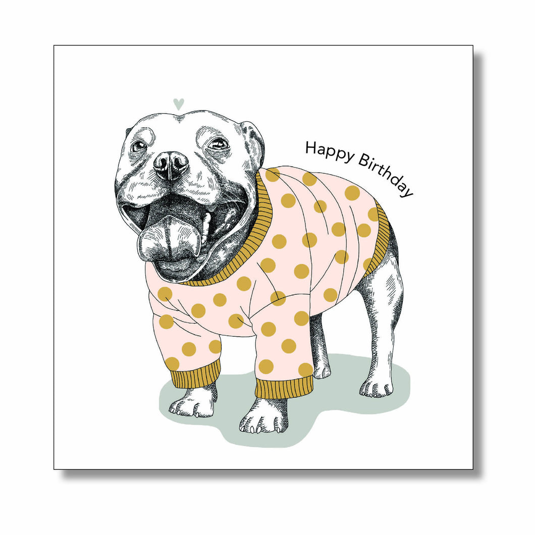 Staffy Birthday Card