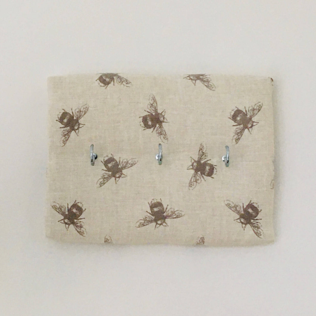 3-hook key hanger in Fryetts honeybee fabric