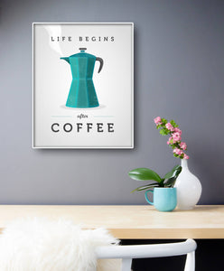 Life begins after coffee. Blue coffee print
