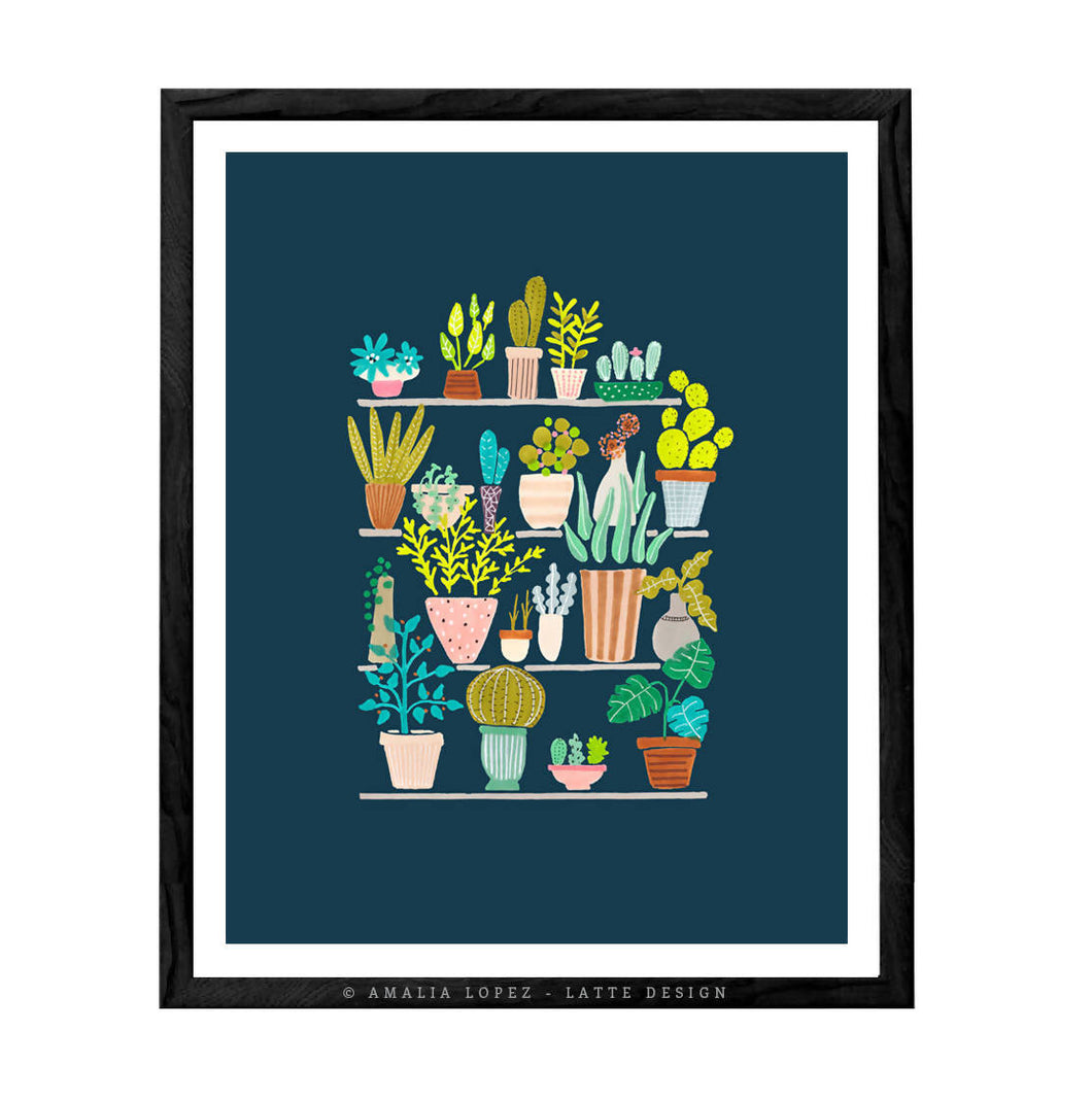 Pots and plants on blue. Botanical illustration plants illustration by Amalia Lopez