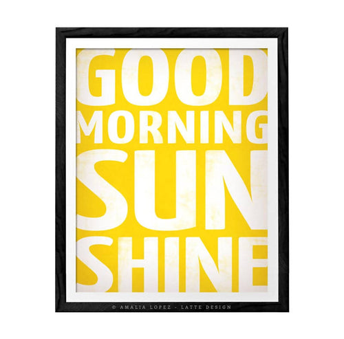 good morning sunshine yellow print by Latte Design