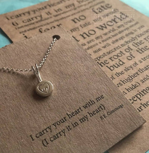 Silver Heart Pendant, Recycled Sterling Silver Pebble Necklace, Hand Stamped Jewellery