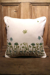 Bee & Wildflower Organic Cotton Cushion Cover
